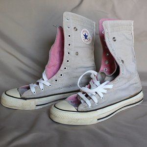 Converse All Star Knee High, Grey / Pink, Size 8.5